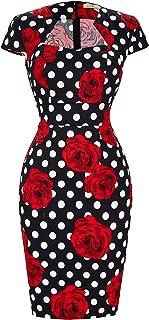 Women's 50s Vintage Pencil Dress Cap Sleeve Wiggle Dress...