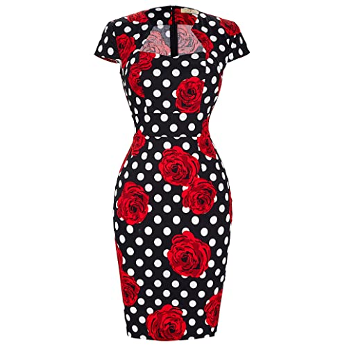 ee21ab45945 GRACE KARIN Women s 50s Vintage Pencil Dress Cap Sleeve Wiggle Dress CL7597