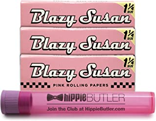 Blazy Susan Pink Rolling Papers 1 1/4 (3 Packs) with Hippie Butler Kewltube
