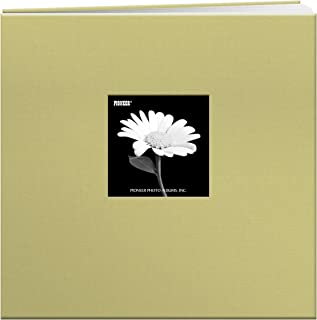 Pioneer 12-Inch by 12-Inch Cloth Cover Postbound Memorybook with Window, Soft Yellow