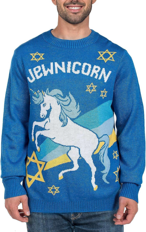 Men's Funny Jewnicorn New product type Hanukkah Sweater Holiday Unicorn Dealing full price reduction - Jewish