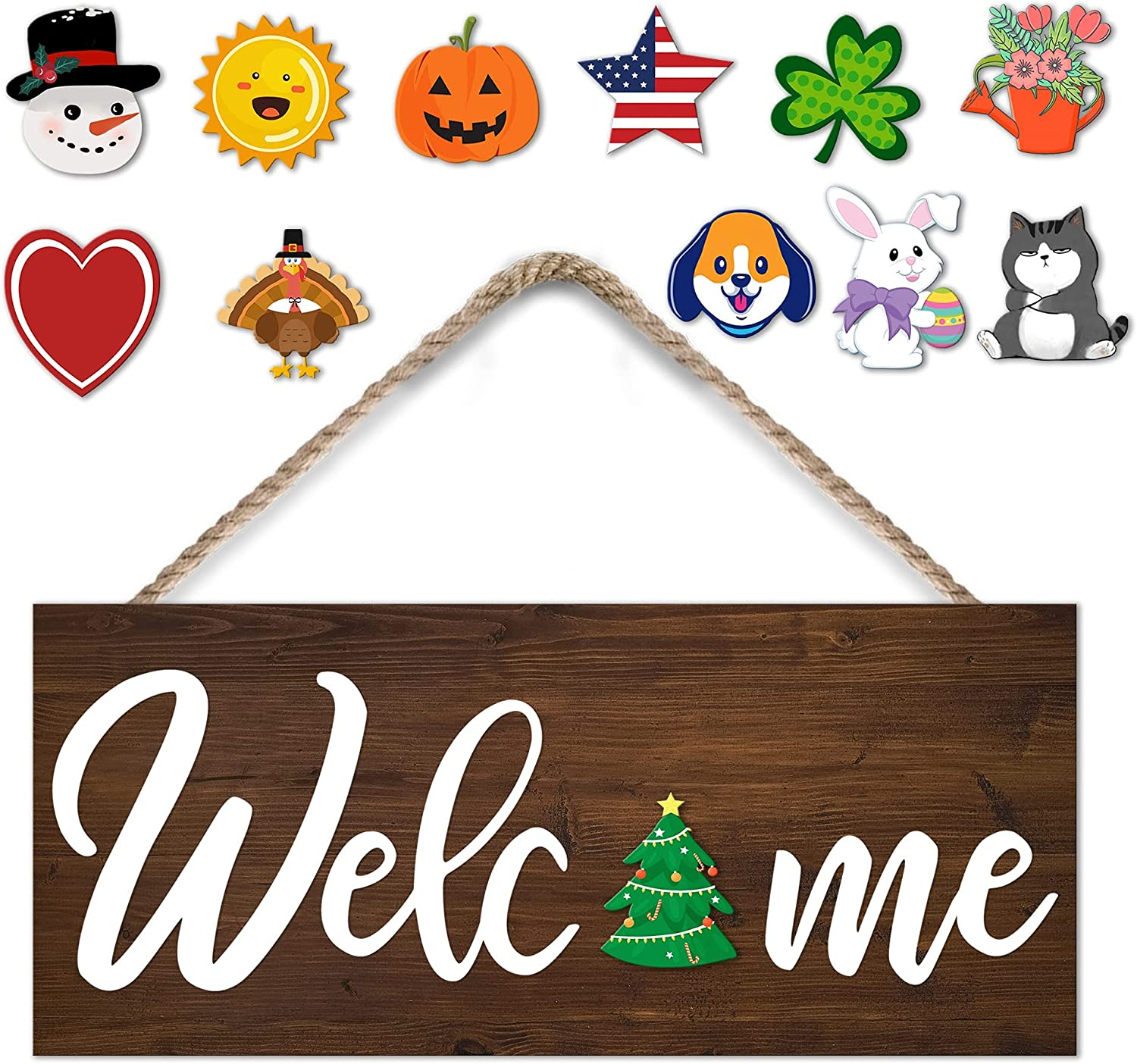 Interchangeable Seasonal Welcome Sign Front Door Decor,Rustic Wood Welcome Sign for Front Porch Decor or Wall Hanging Indoor or Outdoor,Farmhouse Home Holiday Decoration