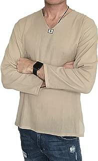 Love Quality Men's Summer T-Shirt 100% Cotton Hippie Shirt V-Neck Beach Yoga Top