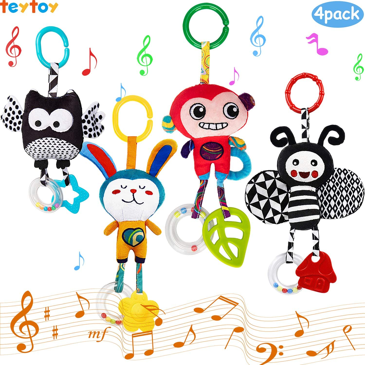 teytoy My First Baby Toy, Animal Hanging Rattle Toys, Baby Bed Crib Car Seat Travel Stroller Soft Plush Crinkle Toys for Infant, Newborn Birthday Gifts for 0, 3, 6, 9, 12 Months(4 Pack)