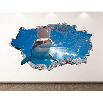 3D Shark Funny G188 Animal Wallpaper Mural Poster Wall Stickers Decal Wendy