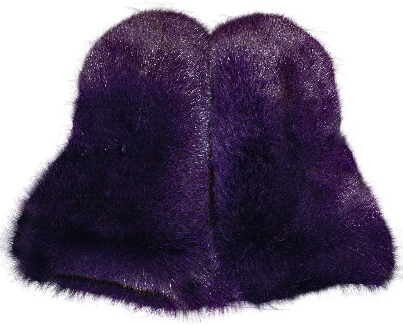 Glacier Wear Blue Fox Fur Mittens Dyed Purple