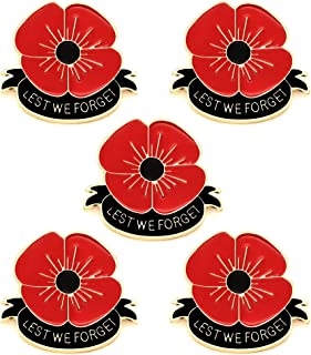 JJIA Remember Memorial Day Gifts 5PCS Set Flower Red Black Poppy Brooch Pin Lest We Forget Enamel Lapel Pin