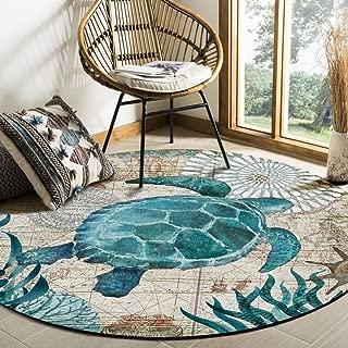 Libaoge Round Area Rugs 4 ft Diameter Indoor Aloha Mats Sea Turtle Ocean Animal Nautical Map Soft Living Room Bedroom Unique Carpet Woman Yoga Mat Home Decor