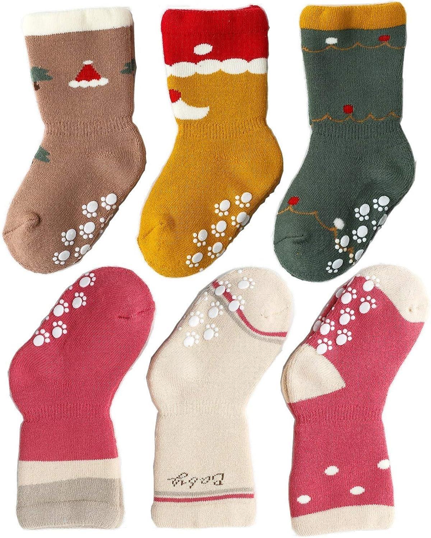 J Poqobog Baby Girls Socks Toddler Boys Kids Unisex Warm Thick Cotton Socks Set 3/6Pack Non Slip/Anti Skid