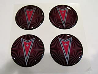Pontiac Starburst Style Wheel Rim Center Decal Sticker 43mm Set of 4 Red & Silver