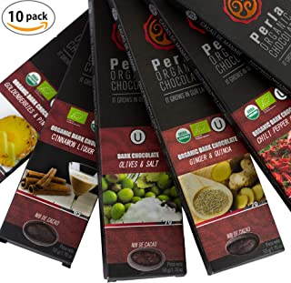 Perla Dark Chocolate Bars - Fine Organic Cocoa Premium Vegan Chocolates - Natural Clean Non-GMO USDA, KOSHER Certified - Gourmet Variety Box - 10 Pack