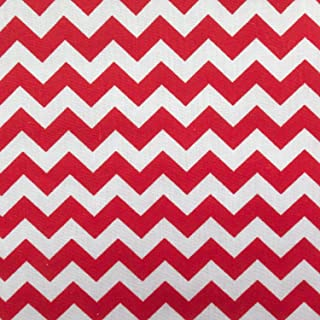 Small Chevron Poly Cotton Red and White 60 Inch Fabric By the Yard (F.E.)