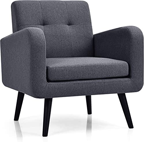 2021 Giantex Modern Upholstered Accent Chair, Mid Century Armchair, w/Rubber Wood Legs, Linen Fabric Single Sofa new arrival for Living Room, Bedroom, Office (1, sale Grey) outlet sale