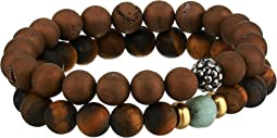 Power Tiger Eye Genuine Gemstone Beaded Bracelet Set