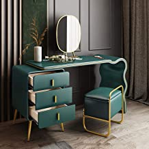 Vanity Makeup Table Set Modern Dressing Table Organiser Set with Mirror,Cushioned Stool Easy to Assemble and Clean-Light W...