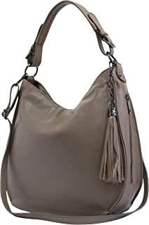 AmbraModa Bolso italiano para mujer bolso de hombro Hobo Bag de cuero genuino GL027