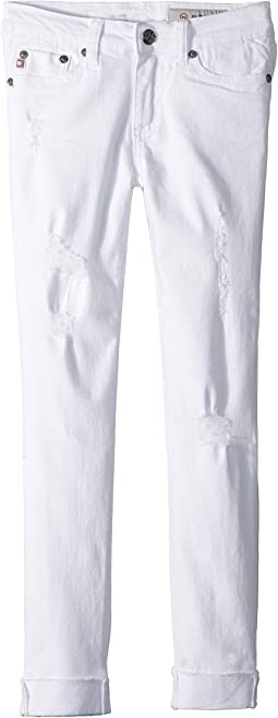 AG Adriano Goldschmied Kids The Jane Skinny Crop Raw Edge Roll Cuff in White (Big Kids)