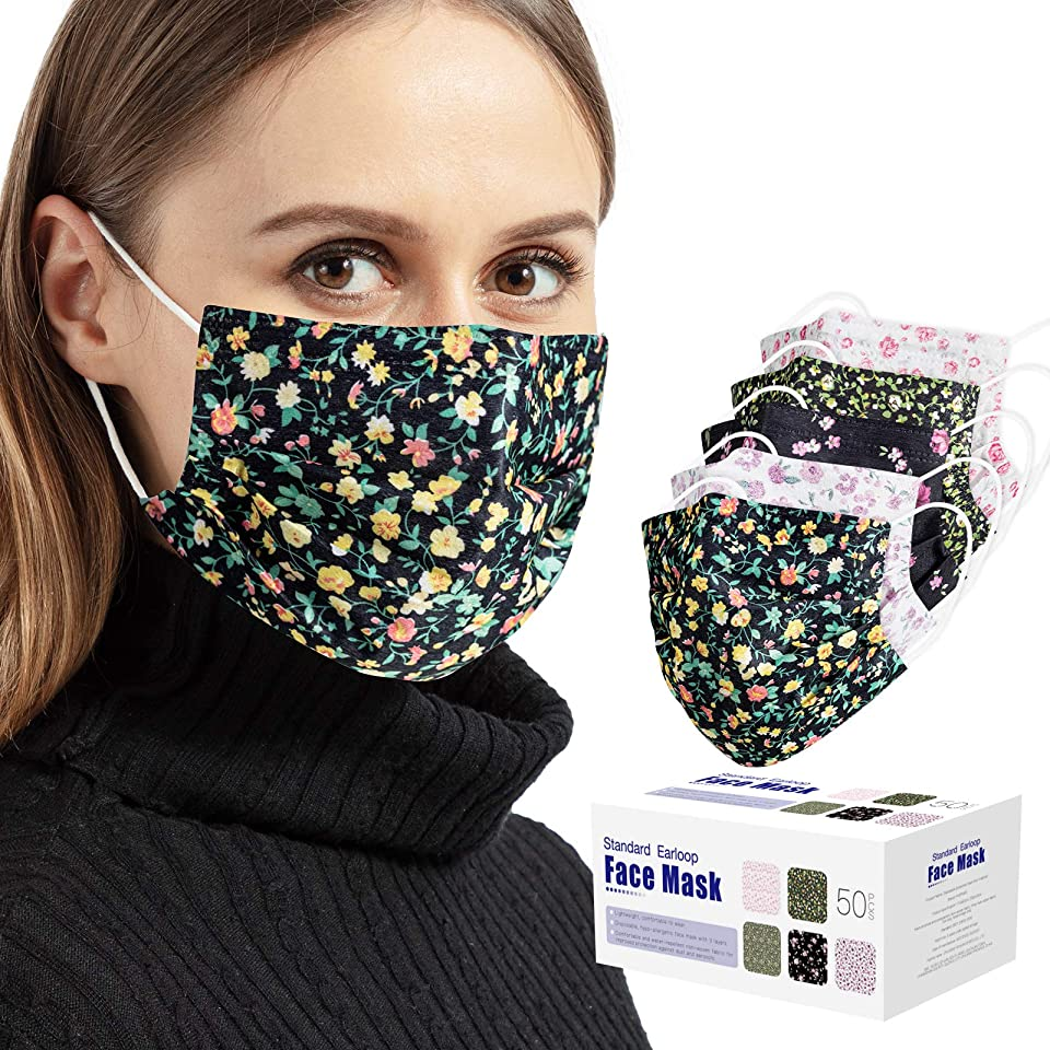 50PCS Face Mask, 3 Layers Filter Non-Woven Disposable Masks Anti Dust Ear Loop-Facial Cover Masks