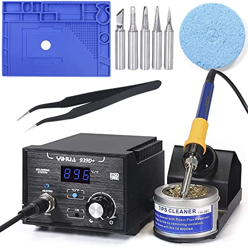 """lowest YIHUA 939D+ Professional Soldering Station bundle with 17.32"""" x 12.20"""" M180 Electronic Repair Mat Bundle with Iron holder, Soldering discount Cleaning Kit high quality and Accessories (13 Items) outlet sale"""