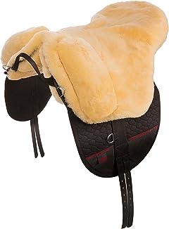 CHRIST Cómoda Montura Inglesa de Caballo Premium Plus - Silla de Montar de Piel de Cordero Transpirable y Suave (Bareback-Pad) Tallas Pura Sangre, Pony, Shetty; Color Natural, Antracita, marrón