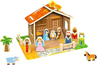 TOYSTERS Wooden Nativity Play Set for Children Little People Playset Toys Indoor Christmas Scene Decoration Kid-Friendly Bible Toy Includes Mary, Joseph, Baby Jesus That Stand Up on Their Own