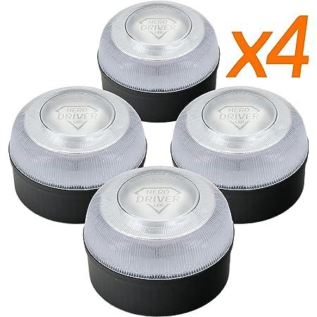 Hero Driver LED Pack 4 UN. - Baliza V16 Homologada 2 · Luz DGT Obligatoria - Señal Emergencia Coche y Moto · Funcionamiento Pila 9 V Reemplaza triángulos Emergencia