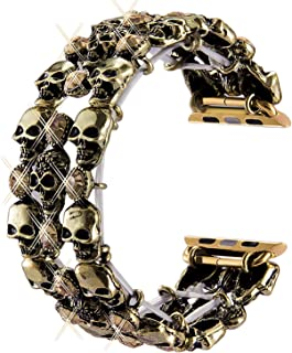 Skull Bands for Compatitle Apple Watch 38mm 40mm 42mm 44mm iWatch Series 4 3 2 1, Retro Stainless Steel Bracelet Metal Wristband Strap