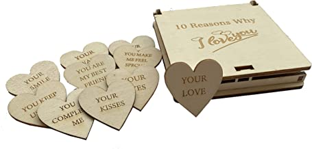 SmilesForMiles Personalized Wood Gift Box with Engraved Wooden Hearts 10 Reasons Why I Love You