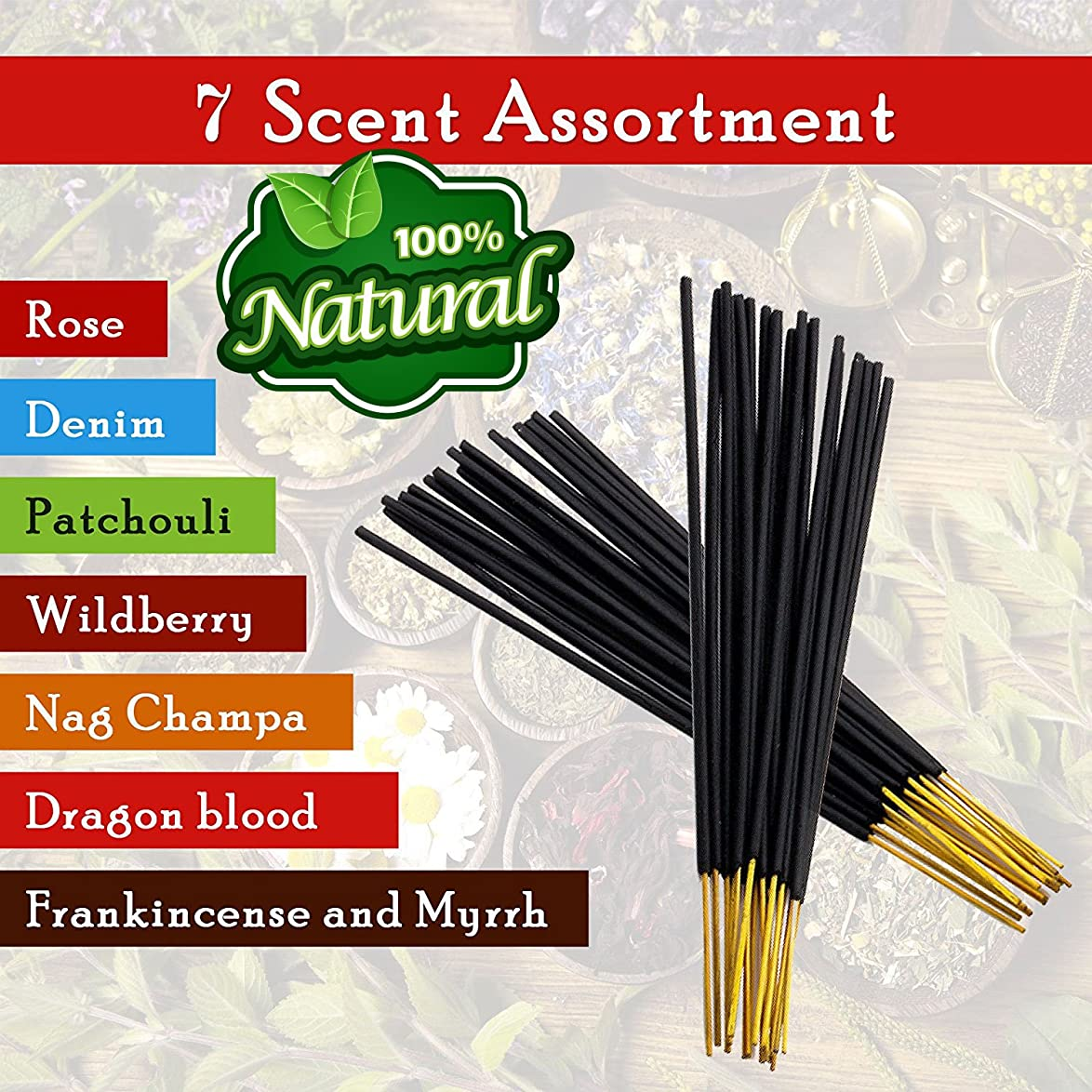 少ないどっち明確に7-assorted-scents-Frankincense-and-Myrrh-Patchouli-Denim-Rose Dragon-blood-Nag-champa-Wildberry 100%-Natural-Incense-Sticks Handmade-Hand-Dipped The-best-140-pack-20-Sticks-each-fragrance