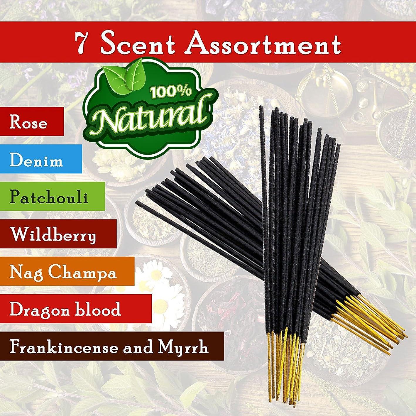 排気珍しい予定7-assorted-scents-Frankincense-and-Myrrh-Patchouli-Denim-Rose Dragon-blood-Nag-champa-Wildberry 100%-Natural-Incense-Sticks Handmade-Hand-Dipped The-best-140-pack-20-Sticks-each-fragrance