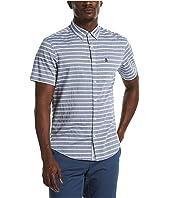 Chambray Horizontal Stripe Stretch Short Sleeve Button-Down Shirt
