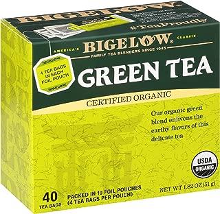 Bigelow Organic Green Tea Bags, 40 Count Box (Pack of 6) Caffeinated Green Tea, 240 Tea Bags Total