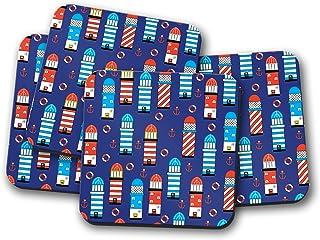 Posavasos azules con diseño de faro turquesa y rojo y blanco, posavasos individuales o juego de 4