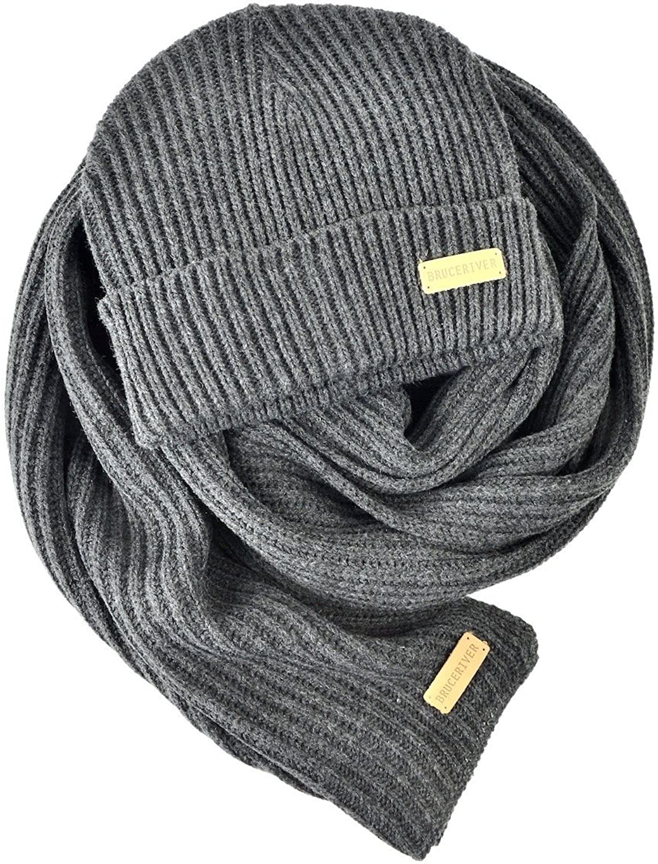 BRUCERIVER Men Women Knit Scarf & Hat Beanie 2Pieces Set Heather color Winter