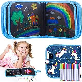 Livre de coloriage effaçable pour enfants - Planche à dessin - Doodle Pad avec 12 crayons de couleur - Livre de coloriage ...
