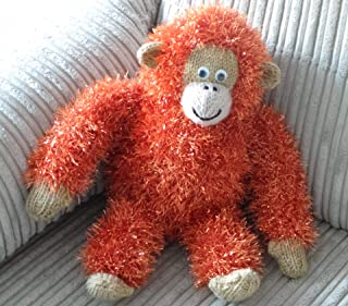 Tinsel - Hand Knitted Orangutan Monkey in Sparkly Rusty Orange Colour Tinsel Wool - Size 23cm Tall (Sitting)