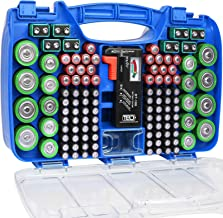 The Battery Organizer Storage Case with Hinged Clear Cover, Includes a Removable Battery Tester, Holds 180 Batteries Vario...