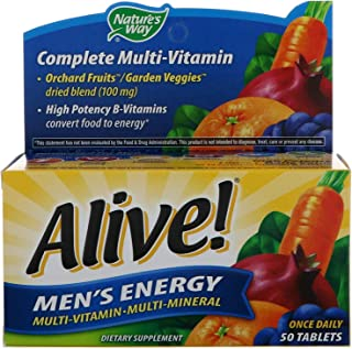 Alive! Men's 50+ Once Daily Multivitamin and Multimineral 50 Tablets