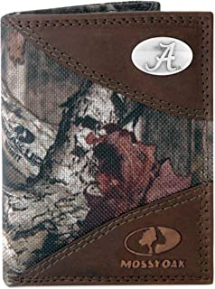 NCAA Alabama Crimson Tide Zep-Pro Mossy Oak Nylon and Leather Trifold Concho Wallet, Camouflage, One Size