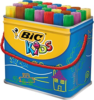 BIC Kids Decoralo Feutres de Coloriage à Pointe Extra Large - Couleurs Assorties, Boîte Métallique de 30