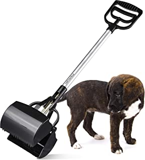 Pooper Scooper for Large Dogs - Dog Poop Scoop Picker Upper Pet Waste Long Handle Heavy Duty XL Jumbo Scoopers for Grass Yard Doggie Poo Pick-up Claw Scoops Sanitary Remover Clean-ing Tools