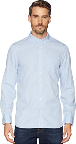 Long Sleeve French Placket Monogram Stripe Poplin Button Down
