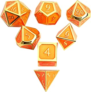DND Polyhedral Metal Game Dice Gold Orange 7pc Set for Dungeons and Dragons RPG MTG Table Games D4 D6 D8 D10 D12 D20