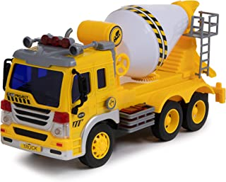Cement Mixer Truck Toy with Light & Sound Effects - Friction Powered Wheels & Rotating Concrete Mixer - Heavy Duty Plastic Vehicle Toy for Kids & Children by Toy To Enjoy