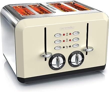 Arendo Breakfast Tostadoras 4 rebanadas 1370 – 1630 W | Carcasa de Acero Inoxidable | hasta 4 rebanadas de Pan de Molde |Grado de Tostado 1-6 | Función de calentado y descongelado