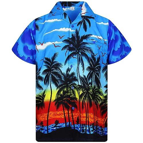 b533c407f33b3 V.H.O. Funky Hawaiian Shirt Men Short-Sleeve Front-Pocket Beach Palm Multi  Colors