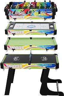 HOMCOM Mesa Multijuegos Mesa de Juegos Diseño 4 en 1 Futbolín Aire Hockey Billar Ping-Pong Sobremesa para Niños y Adultos Accesorios Incluidos Diversión 86,5x43,5x64 cm