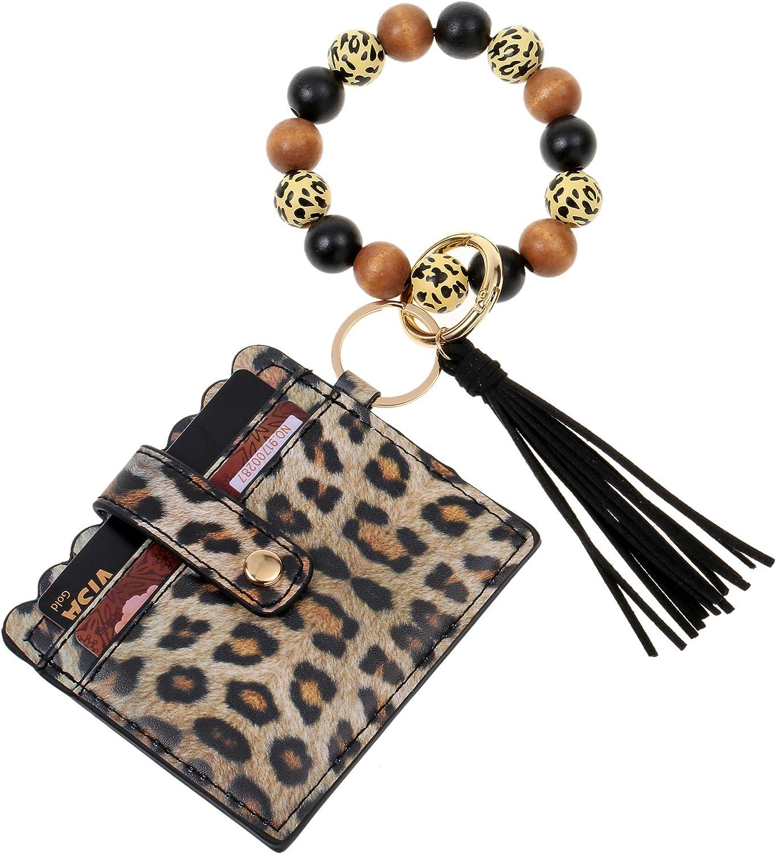 Bead Bracelet Keychain for Women Wristlet Bangle Keyring with Tassel Wooden Bead Keychain Bracelets