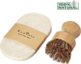 ECOLULU Set | 5 Eco Friendly Sponges for Kitchen & 1 Bamboo Dish Brush Natural Bristles | Zero Waste Eco Friendly Gifts Biodegradable Compostable