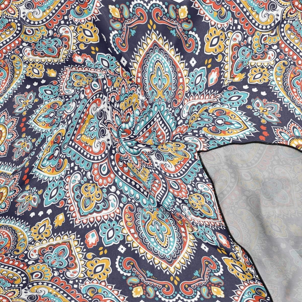 XLING Fashion Square Scarf Indian Floral Paisley Ethnic Mandala Lightweight Sunscreen Scarves Muffler Hair Wrap Headscarf Neckerchief for Women Men